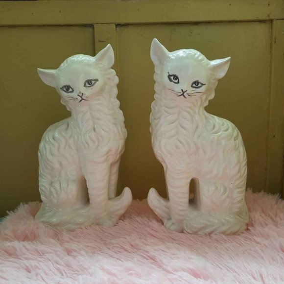 Vintage Tall Mid Century Ceramic Persian Cats
